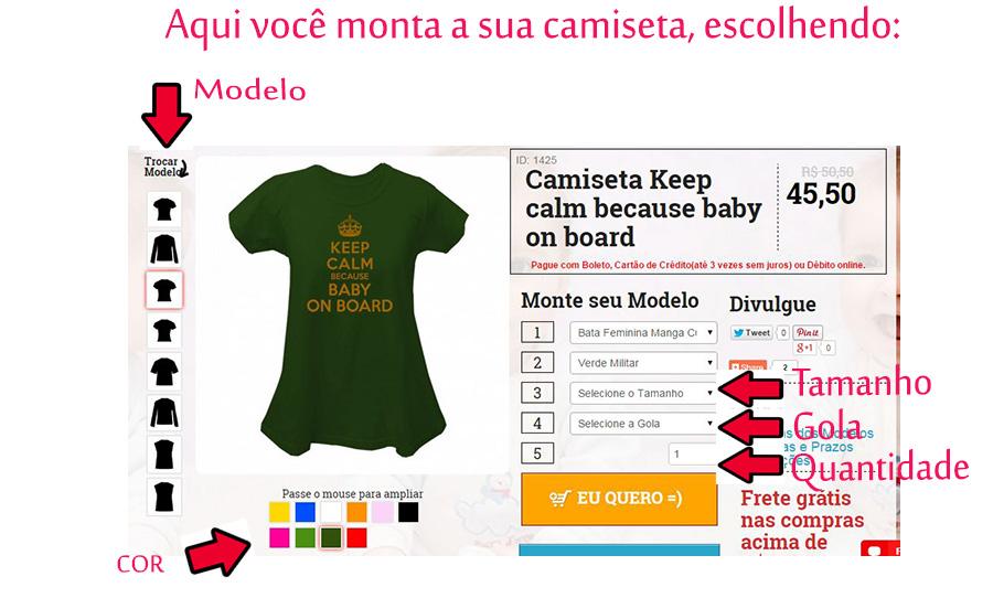 Camiseta criativa para grávida