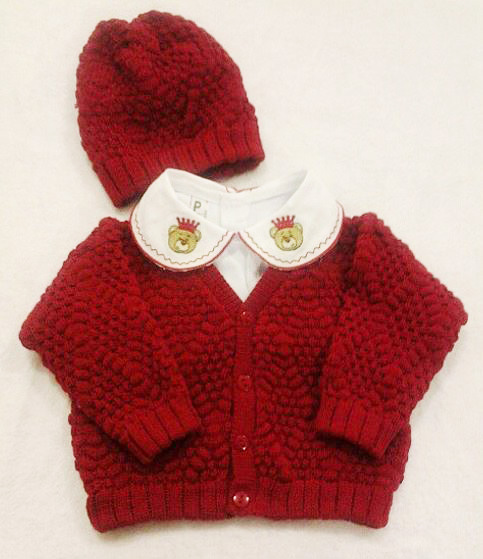 casaquinho em tricot para bebê