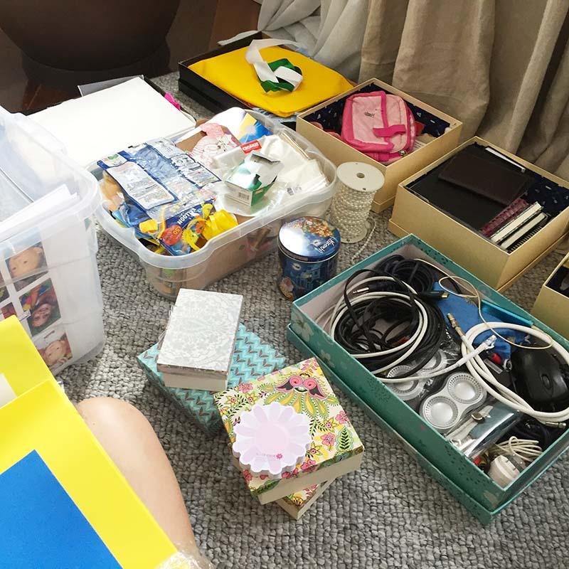 organização em caixas