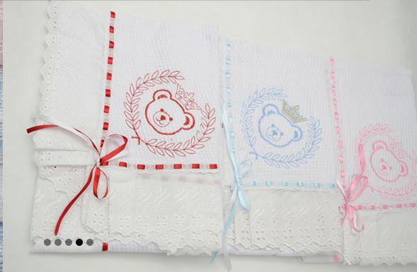lençol bordado para bebê
